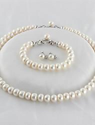 baratos -Mulheres S925 Sterling Silver / Pérolas de água doce Luxo Conjunto de jóias 1 Colar / 1 Bracelete / Brincos - Luxo / Clássico / Elegante
