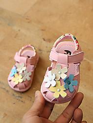 abordables -Fille Chaussures Similicuir Eté Premières Chaussures Sandales Scotch Magique pour Bébé De plein air Blanc / Rose et blanc