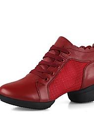 Недорогие -Жен. Обувь для модерна Сетка / Кожа Кроссовки На низком каблуке Персонализируемая Танцевальная обувь Белый / Черный / Красный