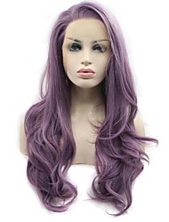 cheap -Synthetic Lace Front Wig Wavy Middle Part Synthetic Hair New Arrival / Hot Sale Purple Wig Women's Long Lace Front / Yes