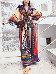 cheap -Women's Holiday Sheath Dress - Color Block Maxi V Neck / Spring / Summer