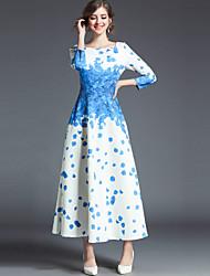 baratos -Mulheres Vintage Moda de Rua balanço Vestido - Estampado, Floral Longo