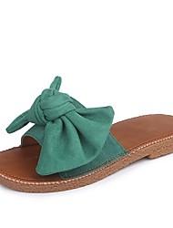 Недорогие -Жен. Обувь Замша Лето Мокасины Тапочки и Шлепанцы На плоской подошве Открытый мыс Цветы из сатина Черный / Желтый / Зеленый