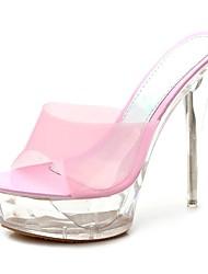 cheap -Women's Shoes PU Summer Basic Pump Sandals Stiletto Heel Round Toe for Birthday White / Pink