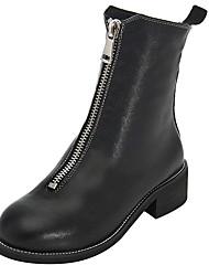 baratos -Mulheres Sapatos Couro Primavera / Outono Botas da Moda / Coturnos Botas Sem Salto Ponta Redonda Preto