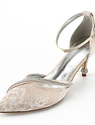 baratos -Mulheres Sapatos Renda Verão Plataforma Básica / D'Orsay / Conforto Sapatos De Casamento Salto Cone Dedo Apontado Pedrarias / Laço /