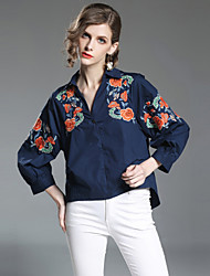 baratos -Mulheres Camisa Social Moda de Rua Bordado, Floral