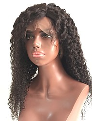 Недорогие -человеческие волосы Remy Лента спереди Парик Бразильские волосы Кудрявый Черный Парик Стрижка каскад 130% Плотность волос с детскими волосами Парик в афро-американском стиле Черный Жен.