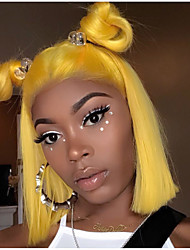 cheap -Remy Human Hair Lace Front Wig Brazilian Hair Straight Blonde Wig Bob Haircut 130% With Baby Hair / Soft / Silky Blonde Women's Short Human Hair Lace Wig / Natural Hairline