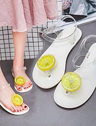 Недорогие -Жен. Обувь Полиуретан Лето Силиконовая обувь Сандалии На плоской подошве Открытый мыс для Белый / Черный / Серый