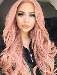 cheap -Synthetic Lace Front Wig Wavy Middle Part 150% Density Synthetic Hair Women / Synthetic / Fashion Rose Pink Wig Women's Long Lace Front