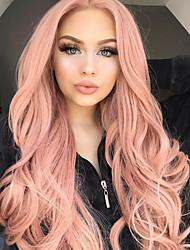 preiswerte -Synthetische Lace Front Perücken Wellen Mittelteil 150% Human Hair Dichte Synthetische Haare Damen / Synthetik / Modisch Rosenrosa Perücke Damen Lang Spitzenfront