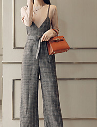 cheap -Women's Basic Jumpsuit - Solid Colored / Check, Lace up