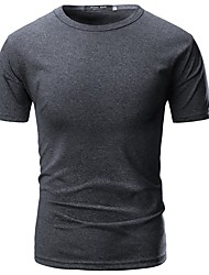 cheap -Men's Cotton / Polyester T-shirt - Solid Colored Round Neck / Short Sleeve