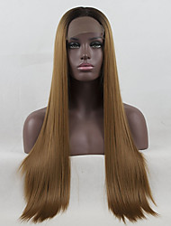 cheap -Synthetic Lace Front Wig / Ombre Straight Golden Middle Part Synthetic Hair Color Gradient / Middle Part Golden / Brown Wig Women's Long Lace Front