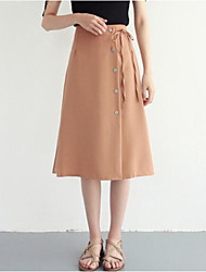 cheap -Women's Daily / Going out A Line Skirts - Solid Colored High Waist