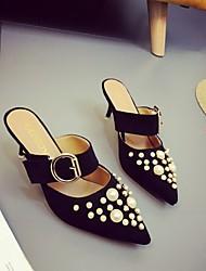 baratos -Mulheres Sapatos Couro Ecológico Verão Outono Chanel Conforto Tamancos e Mules Caminhada Salto Robusto Dedo Fechado Dedo Apontado Pérolas