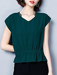 cheap -women's work blouse - solid colored v neck