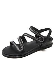 baratos -Mulheres Sapatos Glitter Couro Ecológico Verão Outono Conforto Sandálias Caminhada Sem Salto Dedo Aberto Gliter com Brilho para Ao ar