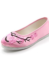 abordables -Femme Chaussures Soie Printemps / Automne Confort Mocassins et Chaussons+D6148 Talon Plat Bout rond Fleur en Satin Noir / Rouge / Rose