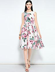 cheap -MARY YAN&YU Women's Vintage / Street chic Swing Dress - Floral Beaded