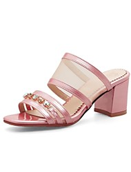 cheap -Women's Shoes Customized Materials Summer Comfort Sandals Chunky Heel Open Toe Gold / Silver / Light Pink / Party & Evening