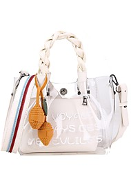 baratos -Mulheres Bolsas PVC Conjuntos de saco Ziper Preto / Rosa / Khaki