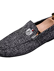 cheap -Men's Shoes Fabric Fall Moccasin / Driving Shoes Loafers & Slip-Ons Black / Gray