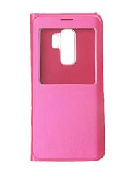 Недорогие -Кейс для Назначение SSamsung Galaxy S9 / S9 Plus с окошком / Флип / Ультратонкий Чехол Однотонный Твердый Кожа PU