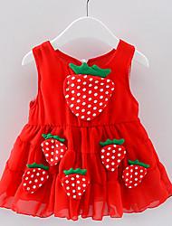 Недорогие -Дети (1-4 лет) Девочки Активный Фрукты Без рукавов Платье Белый 100