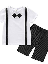 economico -Bambino Bambino (1-4 anni) Da ragazzo In bianco e nero A strisce Monocolore Manica corta Completo