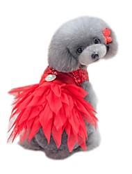 abordables -Animaux de Compagnie Robe Vêtements pour Chien Couleur Pleine / Paillette / Floral / Botanique Noir / Rouge Coton / Polyester Costume