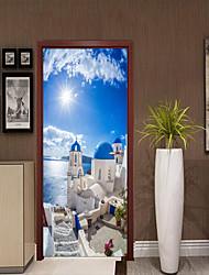 Недорогие -Средиземноморский пейзаж наклейки на двери декоративные водонепроницаемые наклейки на двери