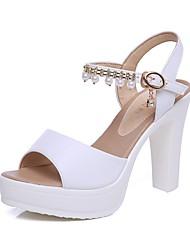 preiswerte -Damen Schuhe Mikrofaser Sommer Fersenriemen Sandalen Blockabsatz Offene Spitze Imitationsperle / Schnalle Weiß / Schwarz / Hochzeit