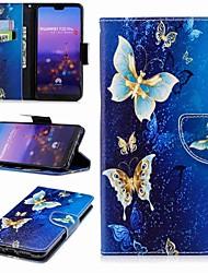 abordables -Coque Pour Huawei P20 lite P20 Pro Porte Carte Portefeuille Avec Support Clapet Motif Coque Intégrale Papillon Dur faux cuir pour Huawei
