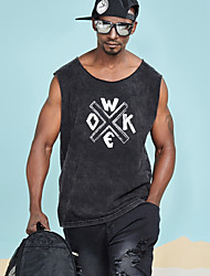 cheap -Men's Basic / Street chic Tank Top - Solid Colored / Letter Print
