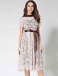cheap -Women's Vintage A Line Dress - Floral / Geometric Lace / Cut Out / Bow