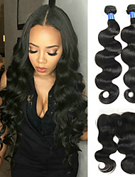 cheap -3 Bundles with Closure Indian Hair / Body Wave Wavy Human Hair Hair Weft with Closure Human Hair Weaves Soft / New Arrival / Hot Sale Natural Color Human Hair Extensions Women's