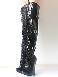 cheap -Women's Shoes PU(Polyurethane) Fall & Winter Novelty / Fashion Boots Boots Wedge Heel Round Toe Over The Knee Boots Black