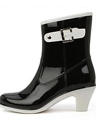 baratos -Mulheres Sapatos PVC Primavera Verão Botas de Chuva Botas Salto Robusto para Work & Safety / Escritório e Carreira / Ao ar livre Preto /
