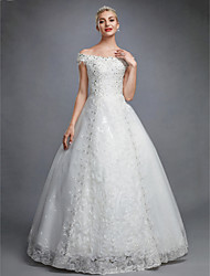 cheap -Ball Gown Off Shoulder Floor Length Lace Over Tulle Made-To-Measure Wedding Dresses with Beading / Sequin / Appliques by LAN TING BRIDE®