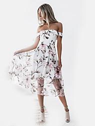 economico -Per donna Moda città Fodero Vestito Fantasia floreale Medio