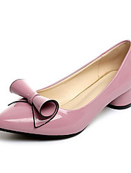 baratos -Mulheres Sapatos Couro Ecológico Primavera Verão Conforto Saltos Salto Robusto Dedo Apontado Roxo Claro / Vermelho / Rosa claro