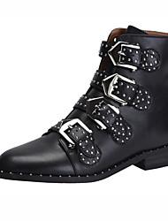 Недорогие -Универсальные Обувь Кожа Наступила зима Модная обувь / Армейские ботинки Ботинки На низком каблуке Круглый носок Ботинки Заклепки / Пряжки