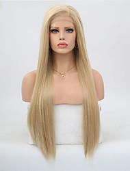 Недорогие -Синтетические кружевные передние парики Прямой Золотистый Стрижка каскад Искусственные волосы Жаропрочная Золотистый Парик Жен. Длинные Лента спереди / Да