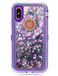 Недорогие -Кейс для Назначение Apple iPhone X / iPhone 8 Plus Защита от удара / Движущаяся жидкость / Сияние и блеск Чехол броня / Сияние и блеск
