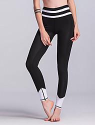 cheap -Women's Patchwork Yoga Pants - Black, Light Grey Sports Geometric, Stripe, Sexy Spandex Leggings / Bottoms Activewear Trainer, Dancing, Walking Stretchy