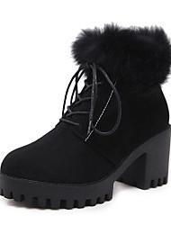 baratos -Mulheres Sapatos Flocagem Inverno Coturnos Botas Salto Robusto Ponta Redonda para Ao ar livre Preto