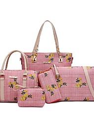 baratos -Mulheres Bolsas PU Conjuntos de saco 5 Pcs Purse Set Estampa / Ziper Geométrica Vermelho / Rosa / Cinzento