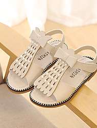 cheap -Girls' Shoes Leather Spring & Summer Comfort Sandals Imitation Pearl / Buckle / Magic Tape for White / Gray / Pink